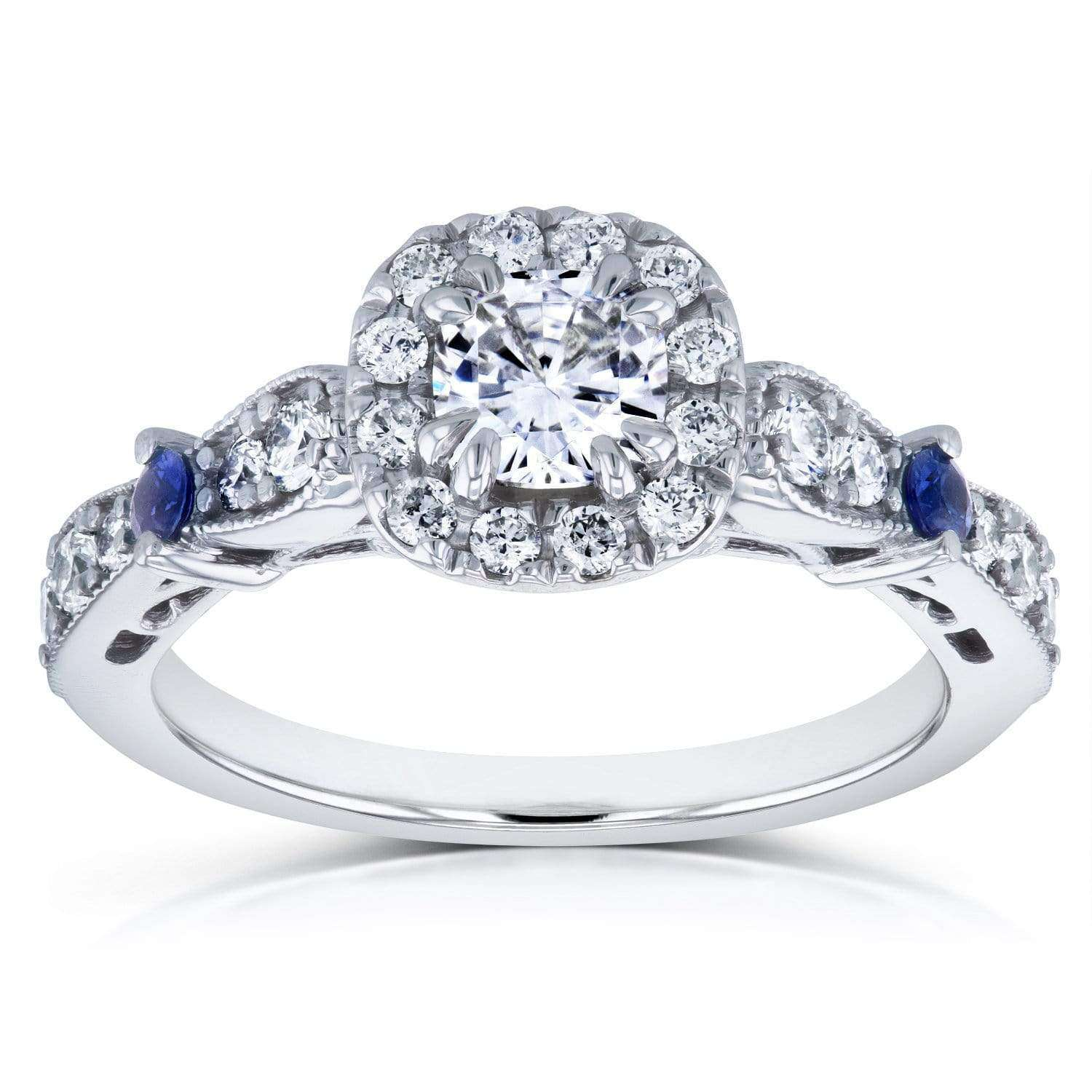 Promos Moissanite with Diamond and Sapphire Engagement Ring 1 CTW in 14k White Gold - 8.5
