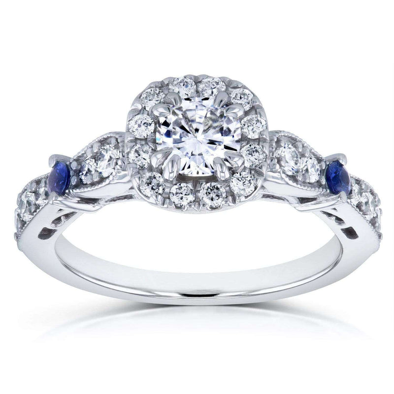Kobelli Moissanite with Diamond and Sapphire Engagement Ring 1 CTW in 14k White Gold
