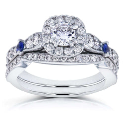 Kobelli Moissanite with Sapphire and Diamond Antique Bridal Set 1 1/6 CTW in 14k White Gold