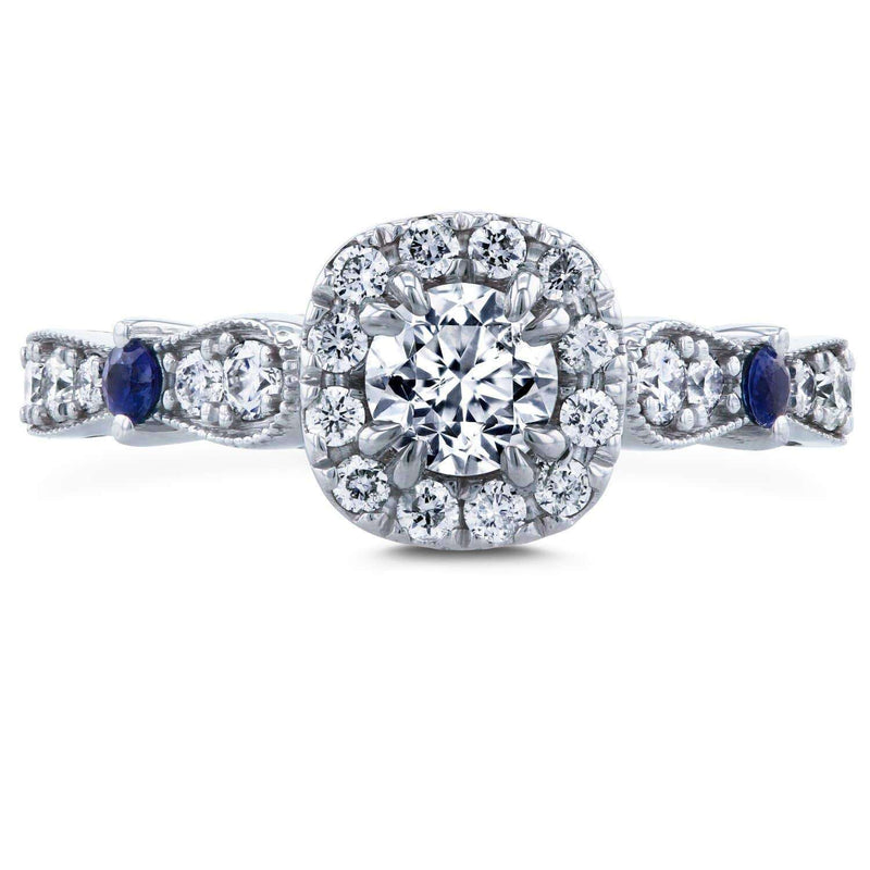 Kobelli Diamond and Sapphire Engagement Ring 1 CTW in 14k White Gold