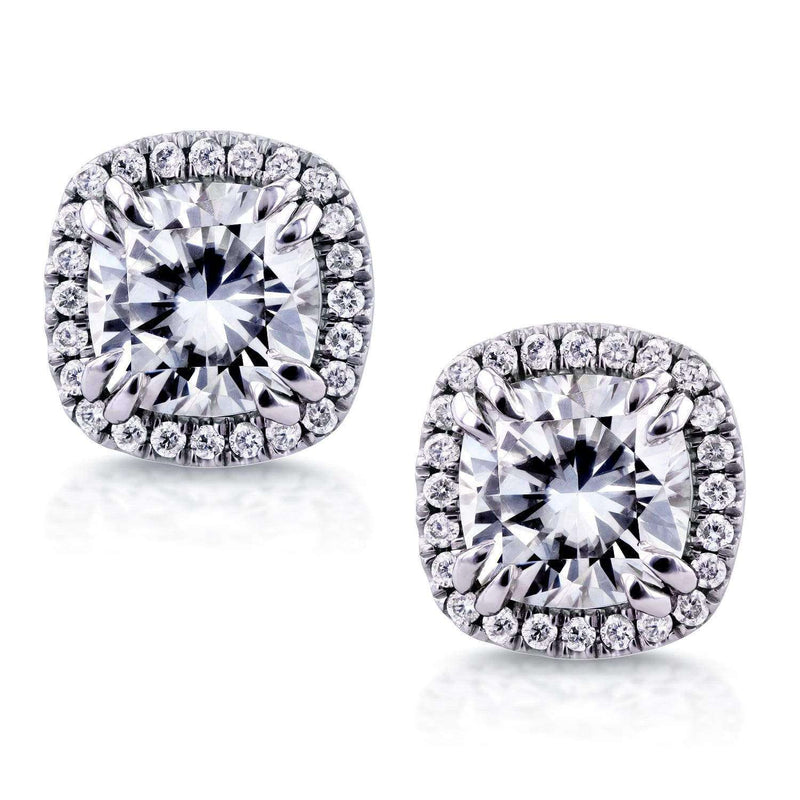 Kobelli Moissanite and Diamond Halo Earrings 4 1/3 CTW 14K White Gold MZ62225CU