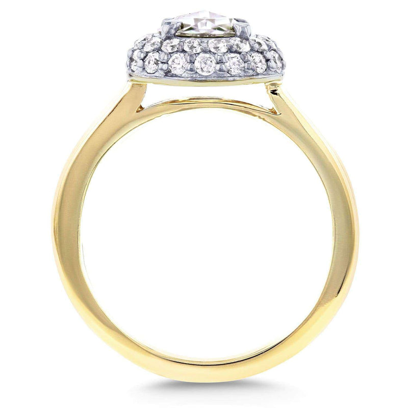 Kobelli Round Rose Cut Moissanite and Diamond Cluster Engagement Ring 7/8 CTW in 14K Yellow Gold