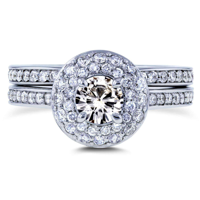 Kobelli Moissanite and Diamond Dome Double Halo Bridal Rings 1 1/8 TCW 14k White Gold
