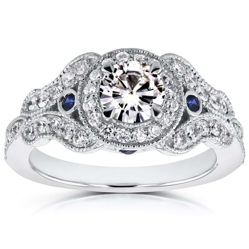 Antique Milgrain Moissanite Engagement Ring with Diamond 1 CTW 14k White Gold