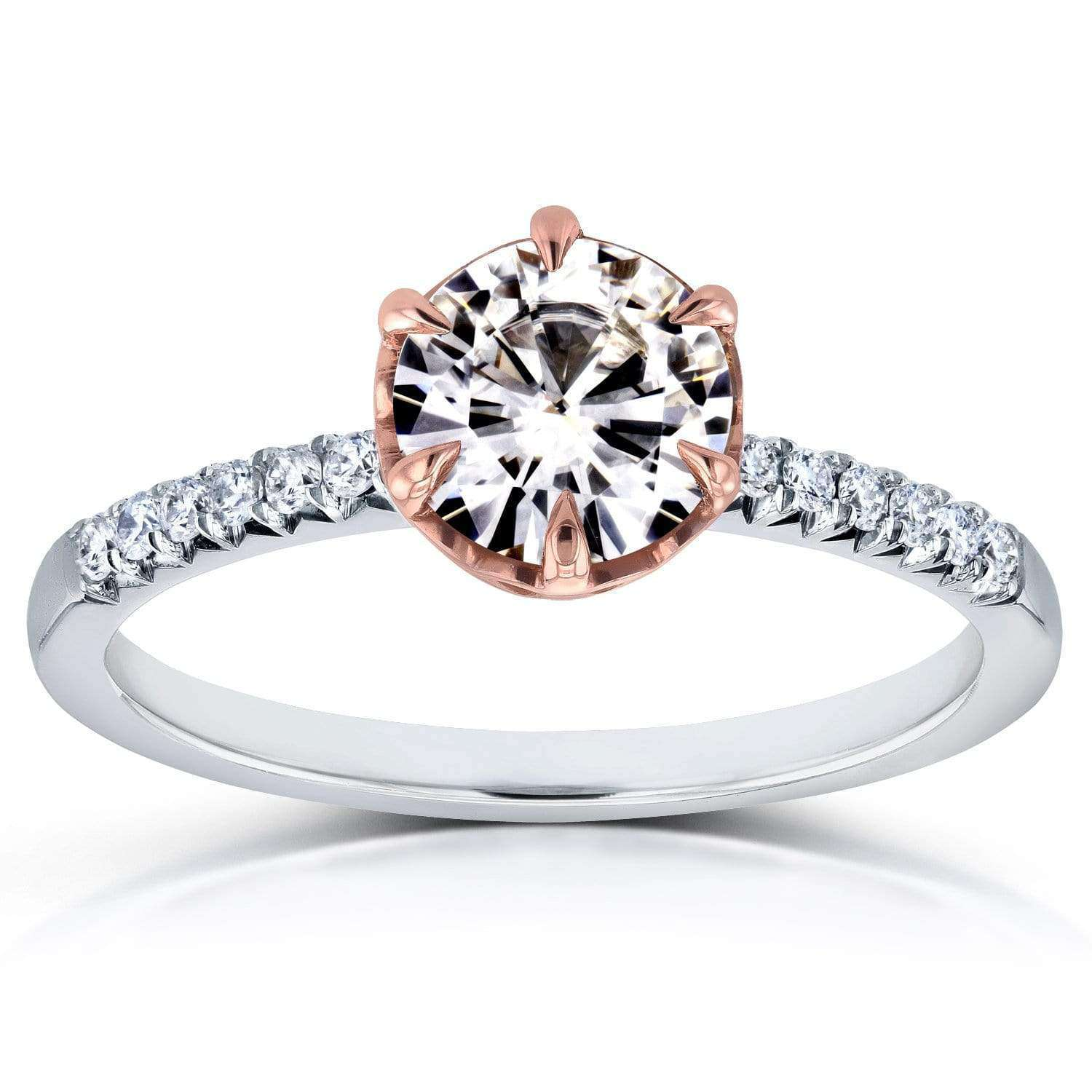 Cheap Near-Colorless (F-G) Moissanite and Diamond Engagement Ring 1 1/8 CTW in Two-Tone 14k Gold - 4.5