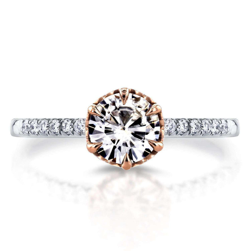 Kobelli Forever One (D-F) Moissanite and Diamond Engagement Ring 1 1/8 CTW In 14K Two-Tone Gold