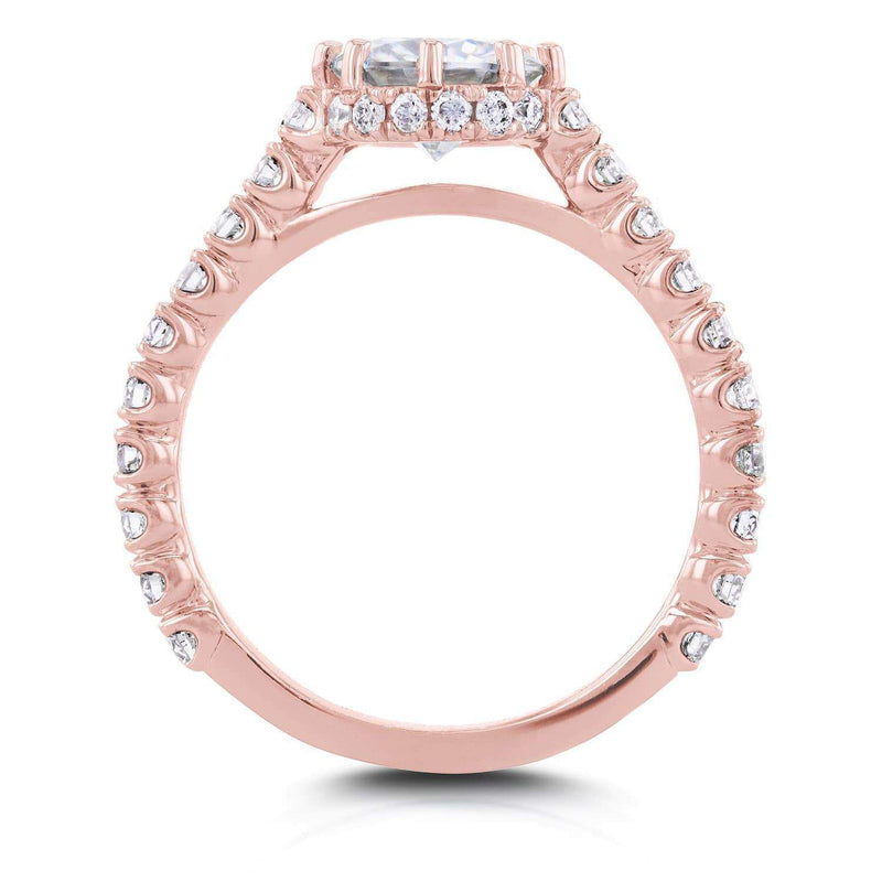 Kobelli Round Moissanite and Diamond 8-Prong Standing Halo Engagement Ring 1 3/5 CTW in 14k Rose Gold