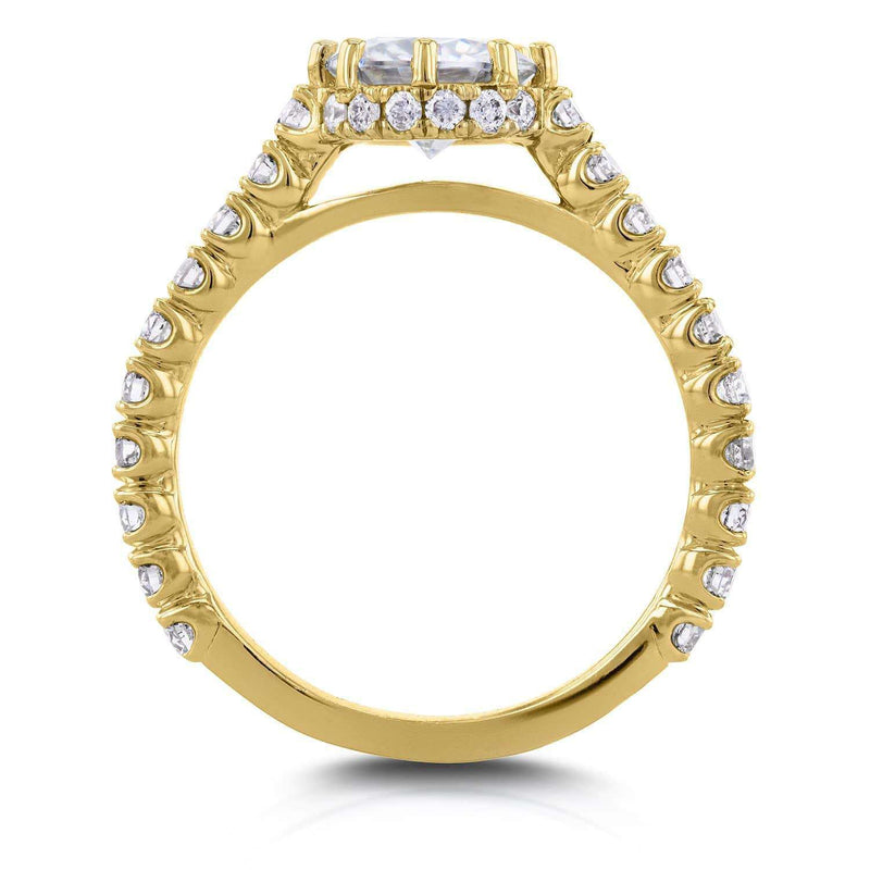 Kobelli Round Moissanite and Diamond 8-Prong Standing Halo Engagement Ring 1 3/5 CTW in 14k Yellow Gold