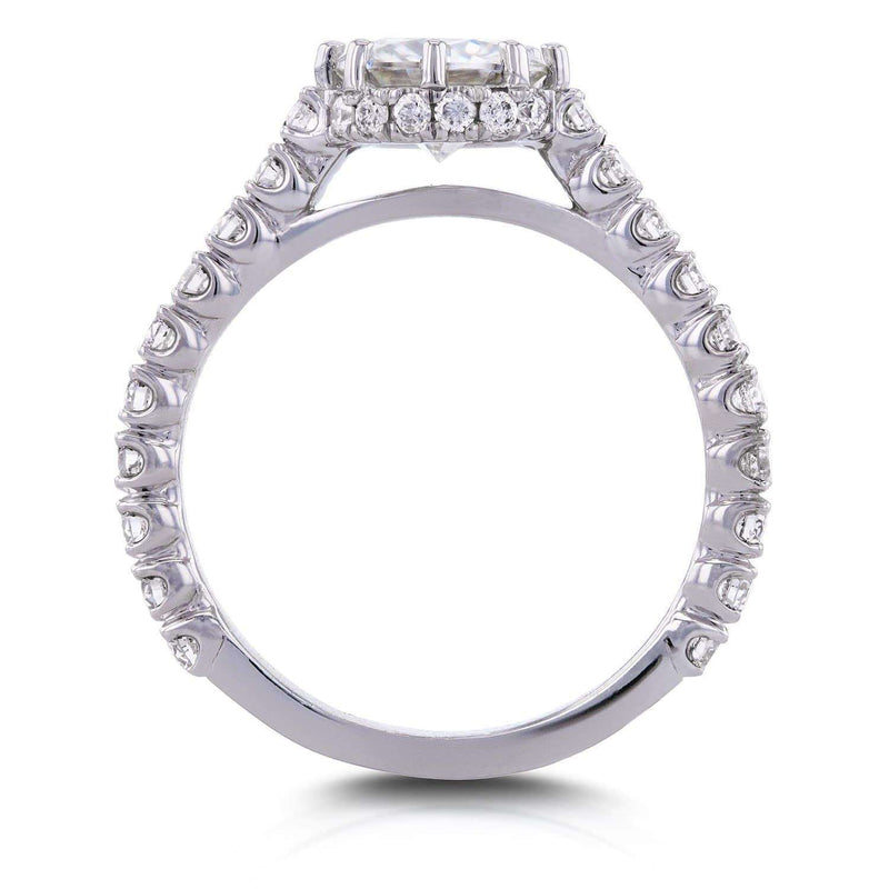 Kobelli Round Moissanite and Diamond 8-Prong Standing Halo Engagement Ring 1 3/5 CTW in 14k White Gold