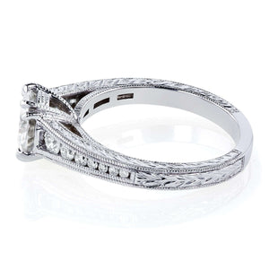 Kobelli Moissanite (H-I) and Diamond Channel Milgrain Band Engagement Ring 1-1/4 CTW in 14K White Gold