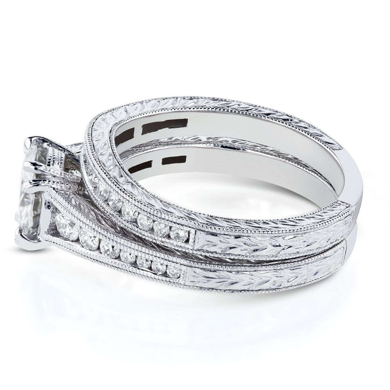 Kobelli Moissanite (H-I) and Diamond Channel Milgrain Bands Bridal Set 1-1/2 CTW in 14K White Gold