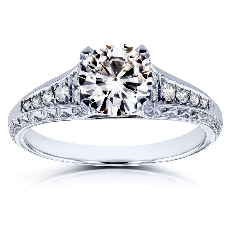 Kobelli Round Moissanite and Diamond Vintage Engagement Ring 1 1/10 CTW in 14k White Gold