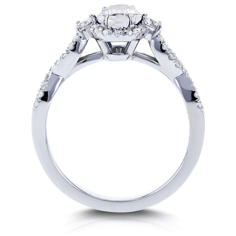 Kobelli Near-Colorless (F-G) Oval Moissanite & Diamond Halo Criss-Cross Ring 1 1/4 CTW 14k White Gold