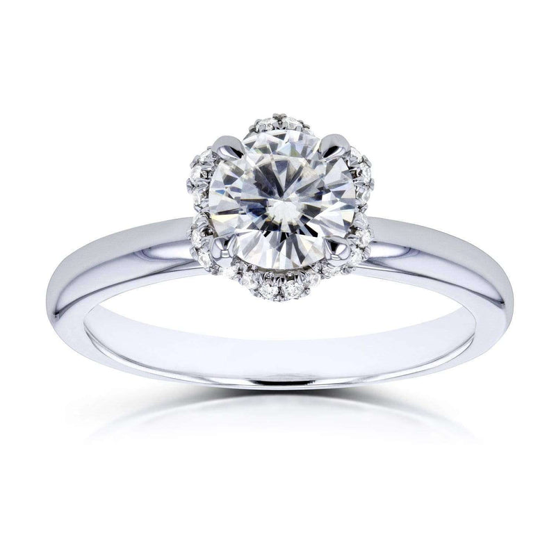 Kobelli Round Moissanite and Diamond Wavy Halo Floral Engagement Ring 7/8 CTW in 14k White Gold