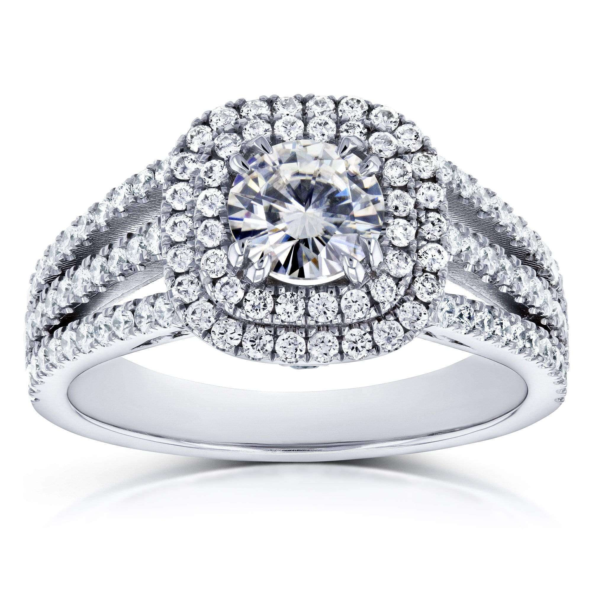 Discounts Moissanite and Multi-Row Diamond Split Band Engagement Ring 2 Carats TGW 14k White Gold - 10.5
