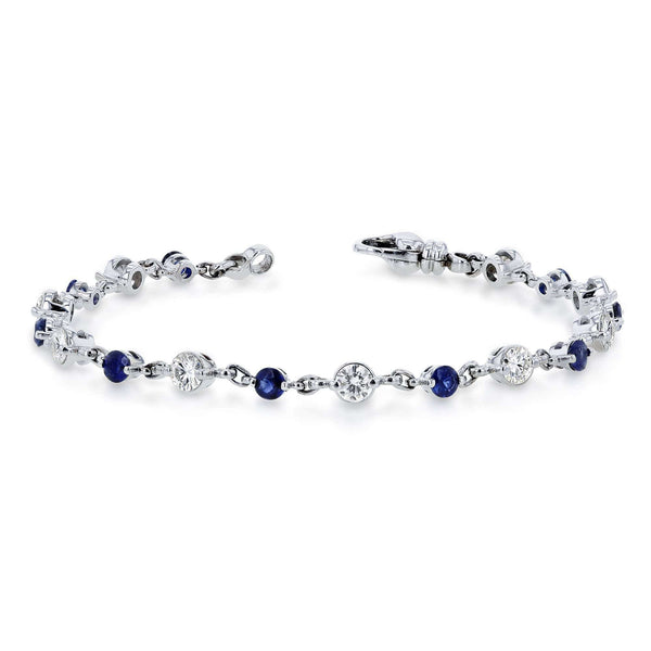Kobelli Alternating Moissanite and Blue Sapphire Chain Link Bracelet 3 7/8 CTW in 10k White Gold MZ62321BS
