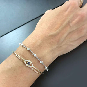 Round Moissanite Station Bracelet 1-7/8 CTW in Sterling Silver