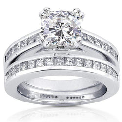 Kobelli Forever One (D-F) Moissanite Bridal Set with Diamond Ring 2 1/10 CTW 14k White Gold