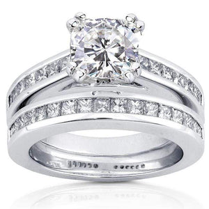 Forever One (D-F) Moissanite Bridal Set with Diamond Ring 2 1/10 CTW 14k White Gold