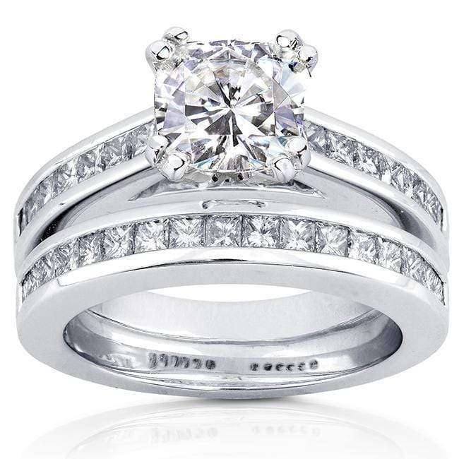 Kobelli Cushion-cut Moissanite and Diamond Bridal Set Ring 2 1/10 CTW 14k White Gold