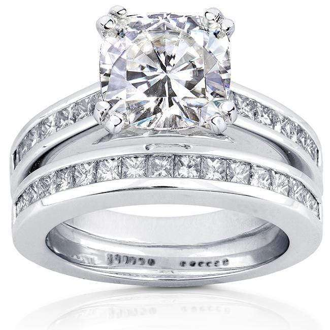 Discounts Forever One (D-F) Moissanite Bridal Set with Diamond Ring 3 CTW 14k White Gold - 8.5