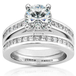 Kobelli Round Moissanite Bridal Set with Diamond 2 1/2 CTW 14k White Gold
