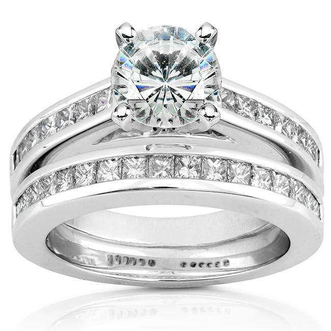 Kobelli Round Moissanite Bridal Set with Diamond 2 CTW 14k White Gold