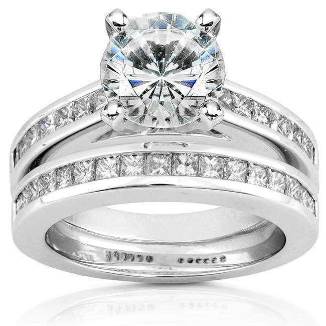 Kobelli Round Moissanite Bridal Set with Diamond 3 CTW 14k White Gold