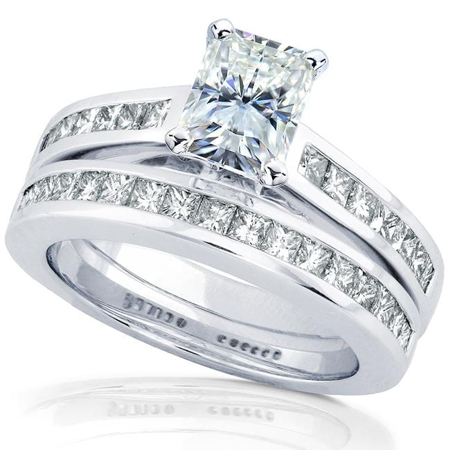 Kobelli Radiant-cut Moissanite Bridal Set with Diamond Ring 2 1/4 CTW 14k White Gold