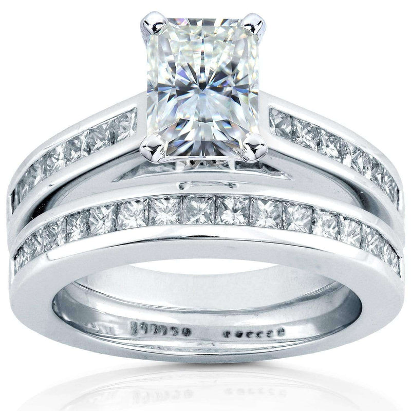 Kobelli Radiant-cut Moissanite Bridal Set with Diamond Ring 2 4/5 CTW 14k White Gold