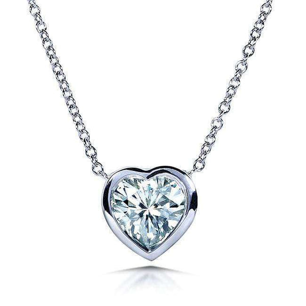 "Kobelli Heart Bezel Moissanite Solitaire Necklace 14K White Gold (16"" Chain) MZ6698H-100"