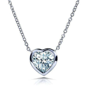 Heart Bezel Near-Colorless (F-G) Moissanite Solitaire Necklace in 14K White Gold
