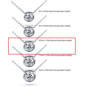 "Round Bezel Moissanite Solitaire Necklace 14K Gold 16"" Chain (6.5mm 1ct DEW)"