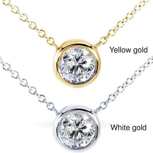"Kobelli Round Bezel Moissanite Solitaire Necklace 14K Gold 16"" Chain (6.5mm 1ct DEW)"