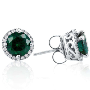 Kobelli Green Moissanite and Diamond Halo Earrings 2 1/4 CTW 14K White Gold MZ71283X