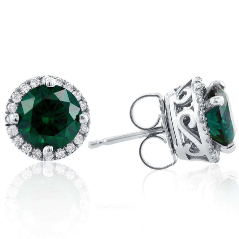 green moissanite and diamond halo stud earrings
