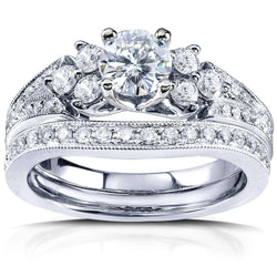 Kobelli Moissanite Bridal Set with Diamond 1 1/6 CTW 14K White Gold