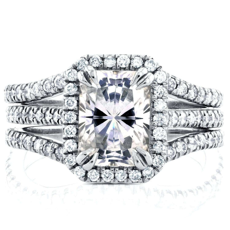 Kobelli Near-Colorless (F-G) Radiant Moissanite and Diamond 3 Piece Bridal Set 2 2/5 CTW in 14k White Gold