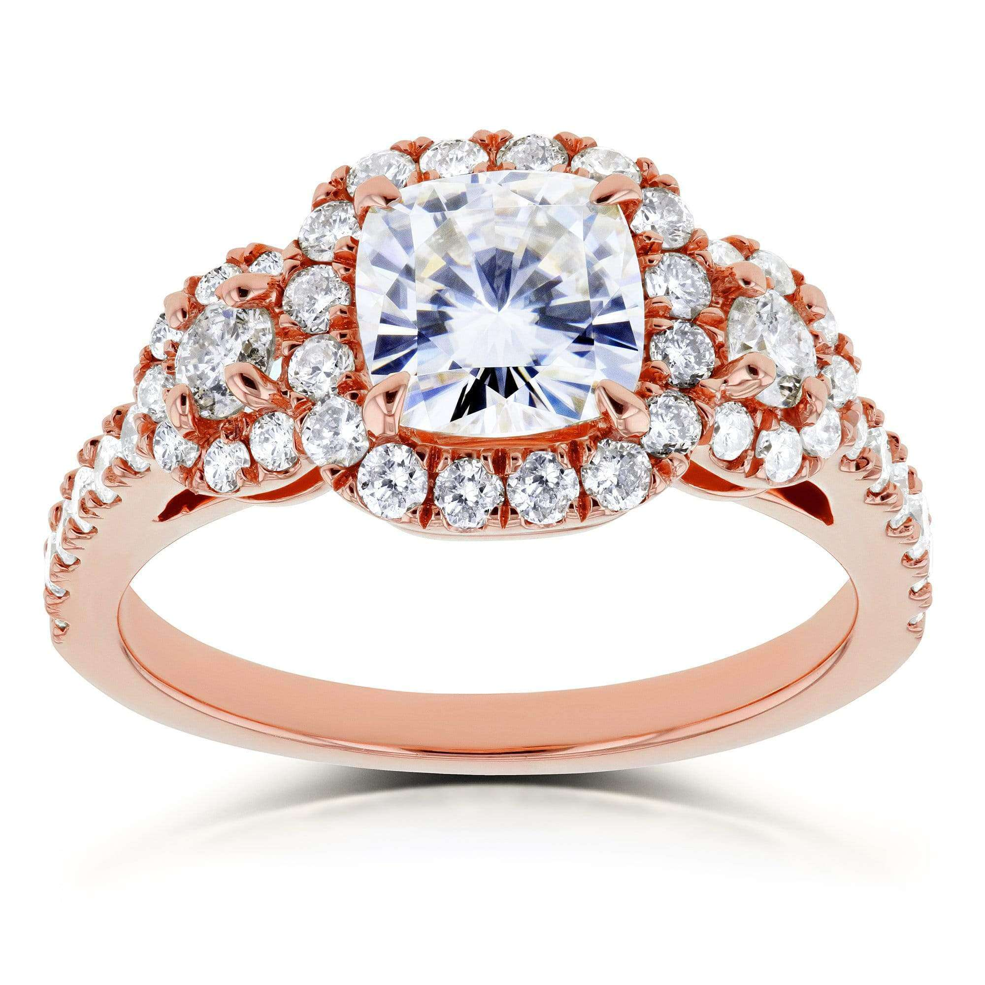 Compare Near-Colorless (F-G) Cushion Moissanite and Diamond Engagement Ring 1 7/8 CTW in 14k Rose Gold - 9.5