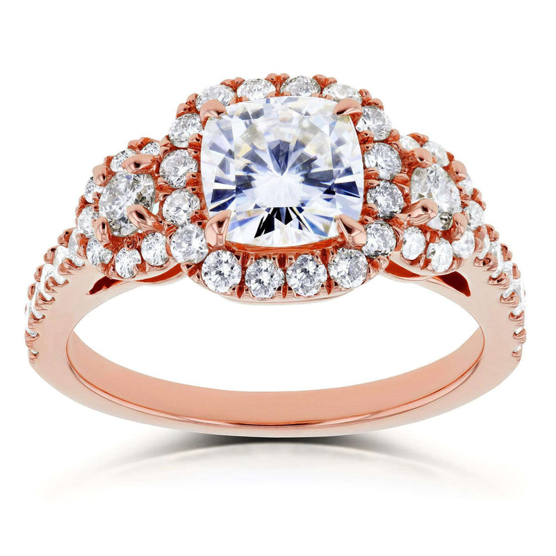 Kobelli Near-Colorless (F-G) Cushion Moissanite and Diamond Engagement Ring 1 7/8 CTW in 14k Rose Gold