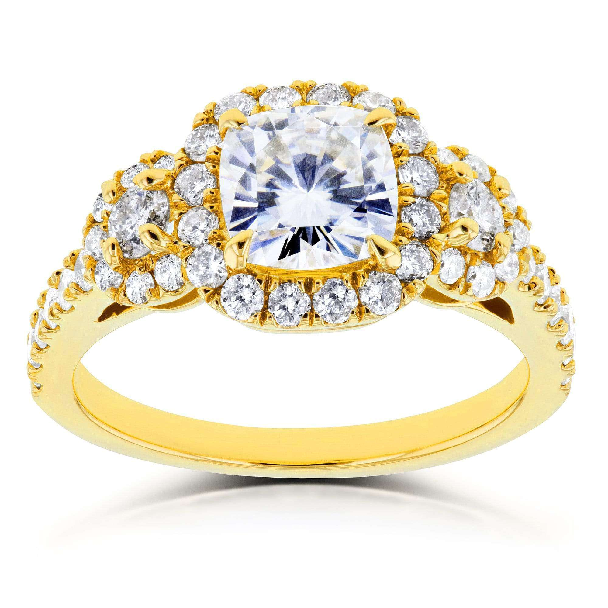 Top Near-Colorless (F-G) Cushion Moissanite and Diamond Engagement Ring 1 7/8 CTW in 14k Yellow Gold - 4.5
