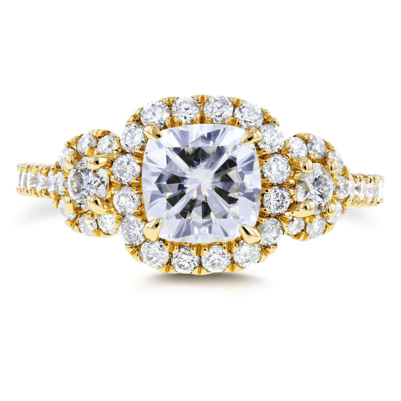 Kobelli Near-Colorless (F-G) Cushion Moissanite and Diamond Engagement Ring 1 7/8 CTW in 14k Yellow Gold