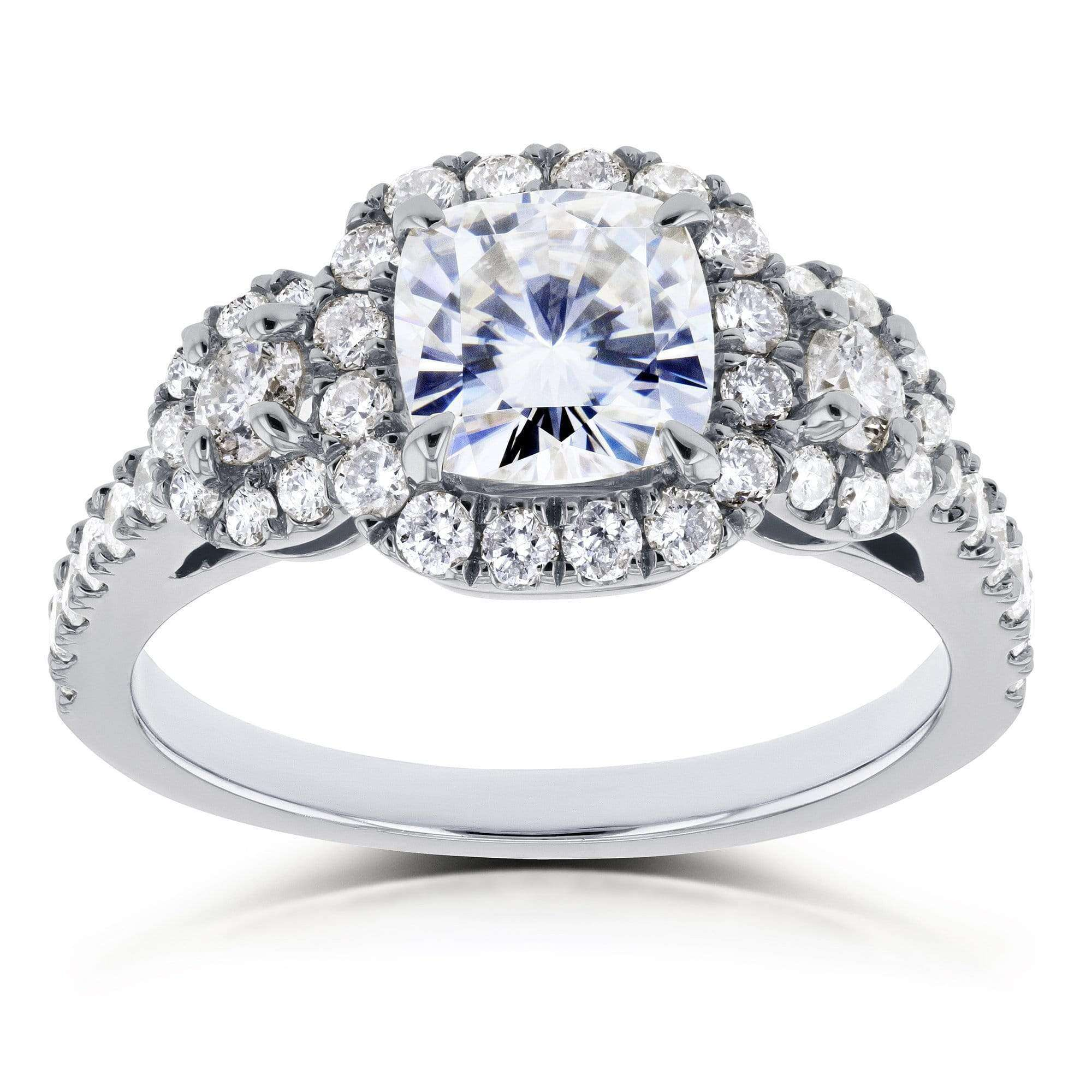 Top Near-Colorless (F-G) Cushion Moissanite and Diamond Engagement Ring 1 7/8 CTW in 14k White Gold - 11