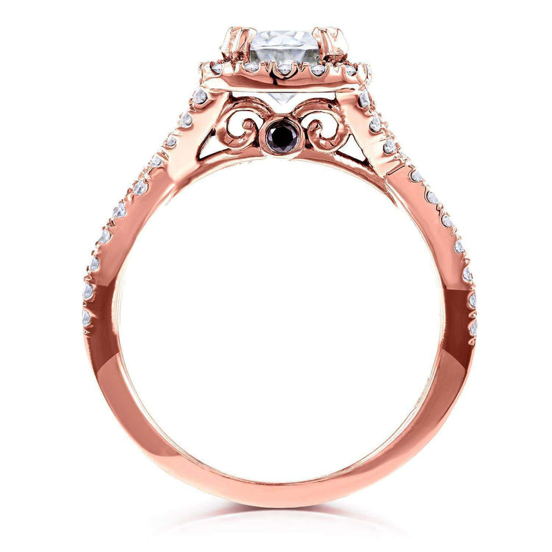 Kobelli Near-Colorless (F-G) Moissanite Engagement Ring and Diamond 1 1/2 CTW 14k Rose Gold
