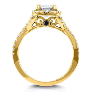 Kobelli Near-Colorless (F-G) Moissanite Engagement Ring and Diamond 1 1/2 CTW 14k Yellow Gold