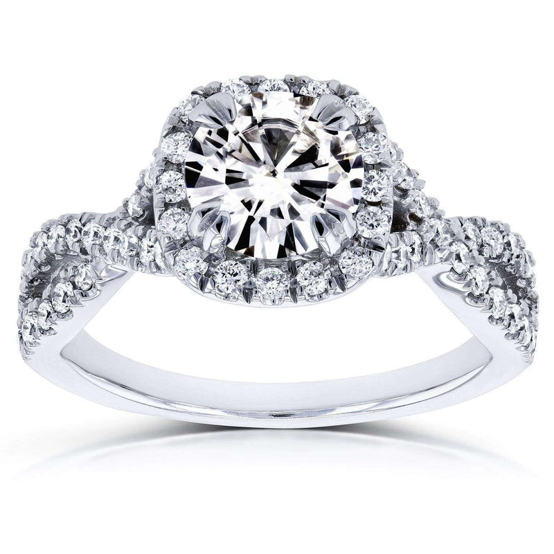 Kobelli Near-Colorless (F-G) Moissanite Engagement Ring and Diamond 1 1/2 CTW 14k White Gold