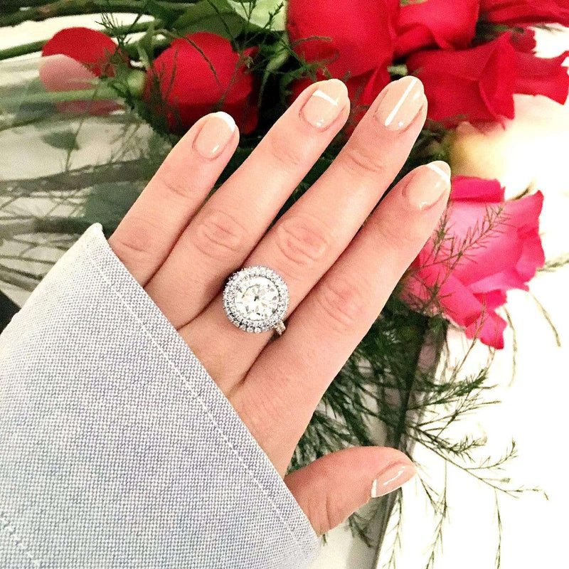 Kobelli Double Halo Round Moissanite and Diamond Engagement Ring 5 7/8 Carat (ctw) in 14k White Gold