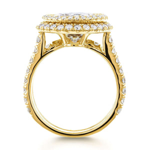Kobelli Moissanite Double Halo Statement Bridal Set 14k Yellow Gold (6 1/3 CTW)