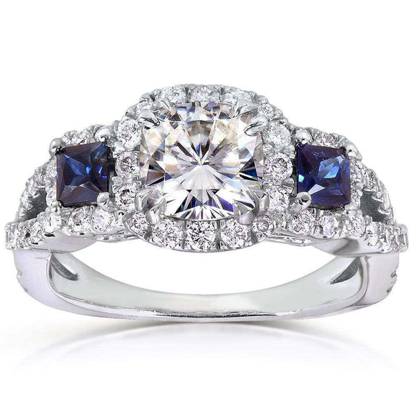 Kobelli Near-Colorless (F-G) Moissanite Engagement Ring with Sapphire & Diamond 2 CTW 14k White Gold