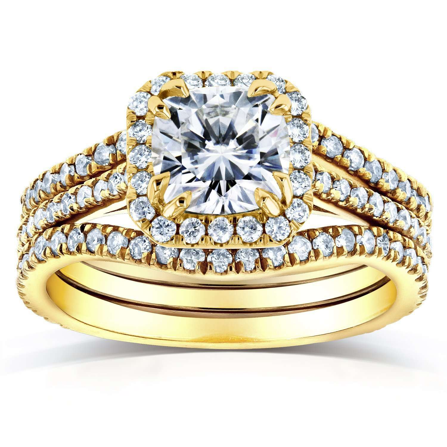 Coupons Near-Colorless (F-G) Cushion Moissanite and Diamond Halo Bridal Set 1 4/5 CTW in 14k Yellow Gold - 4
